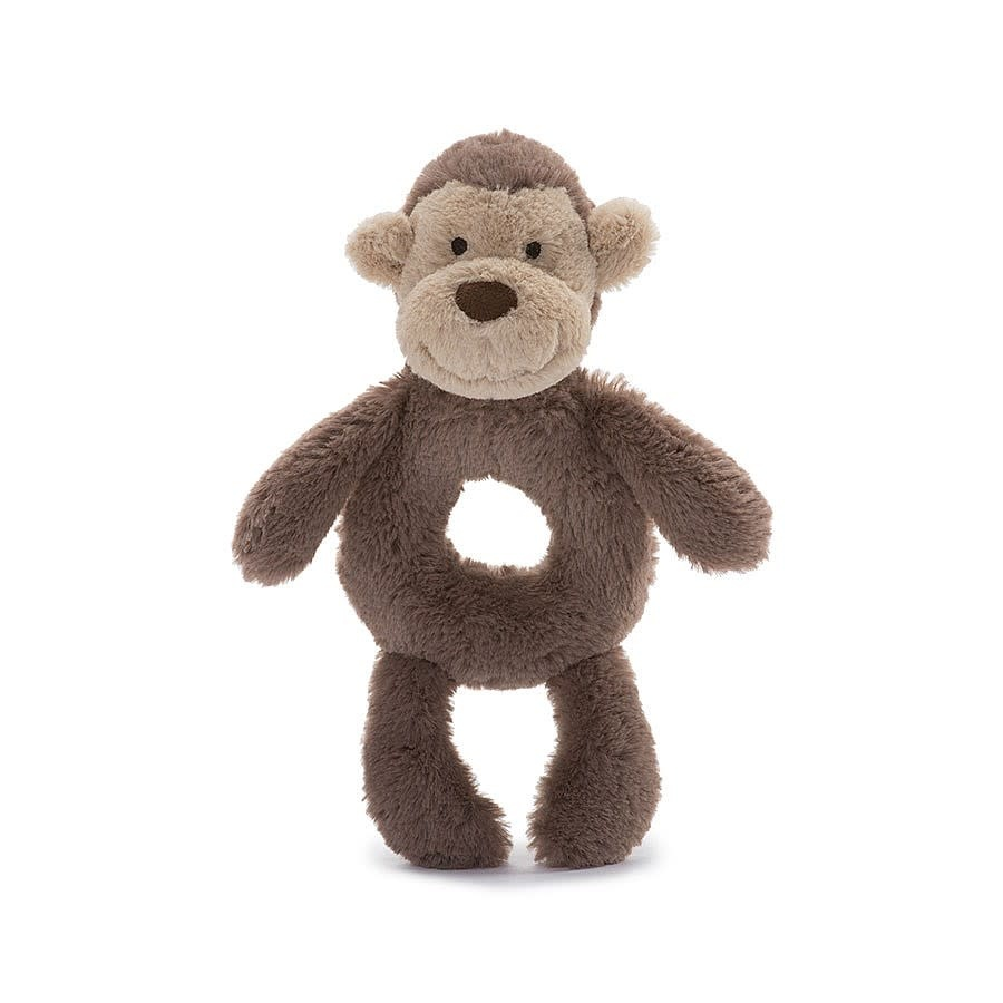 Jellycat Bashful Monkey Plush Ring Rattle