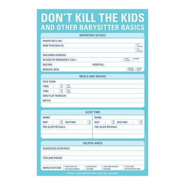 Don't Kill the Kids Babysitter Notepad