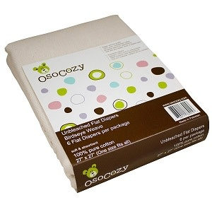 OsoCozy 6 pack Unbleached Birdseye Flat Diapers