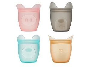 Zip Top 100/% Platinum Silicone Baby Snack Containers 4 Set