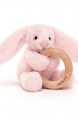 Jellycat Jellycat - Shooshu Bashful Blush Bunny Wooden Ring Toy