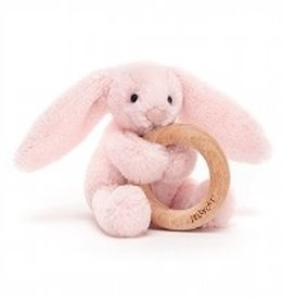 Jellycat Shooshu Bashful Blush Bunny Wooden Ring Toy