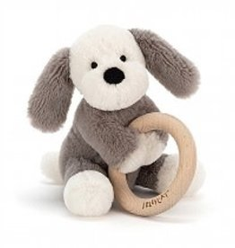 Jellycat Shooshu Smudge Puppy Wooden Ring Toy