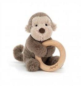 Jellycat Shooshu Bashful Monkey Wooden Ring Toy
