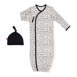 Magnetic Me Magnetic Me - Organic Cotton Gown & Hat Set - Pom Pom