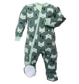 ZippyJamz Zippyjamz Footed - Quiet Fox Green