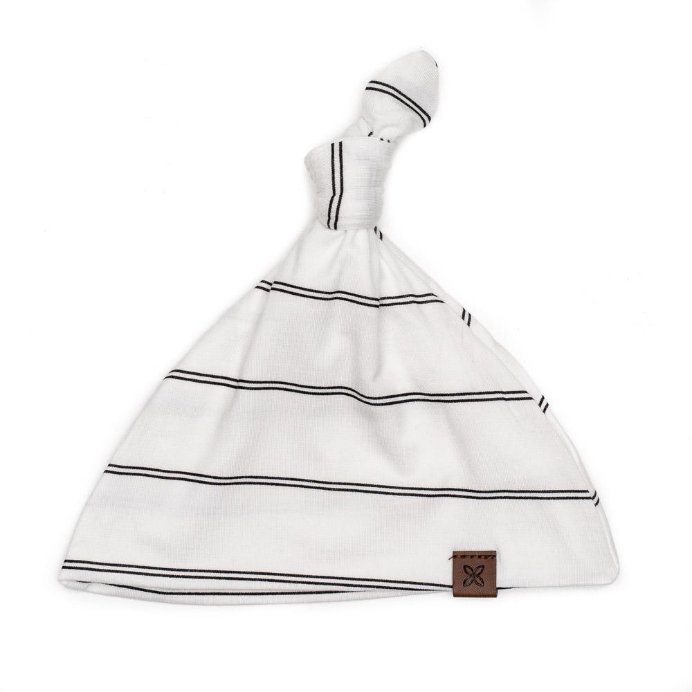 PapillonBebe Striped Onyx Baby Hat - 0-3m