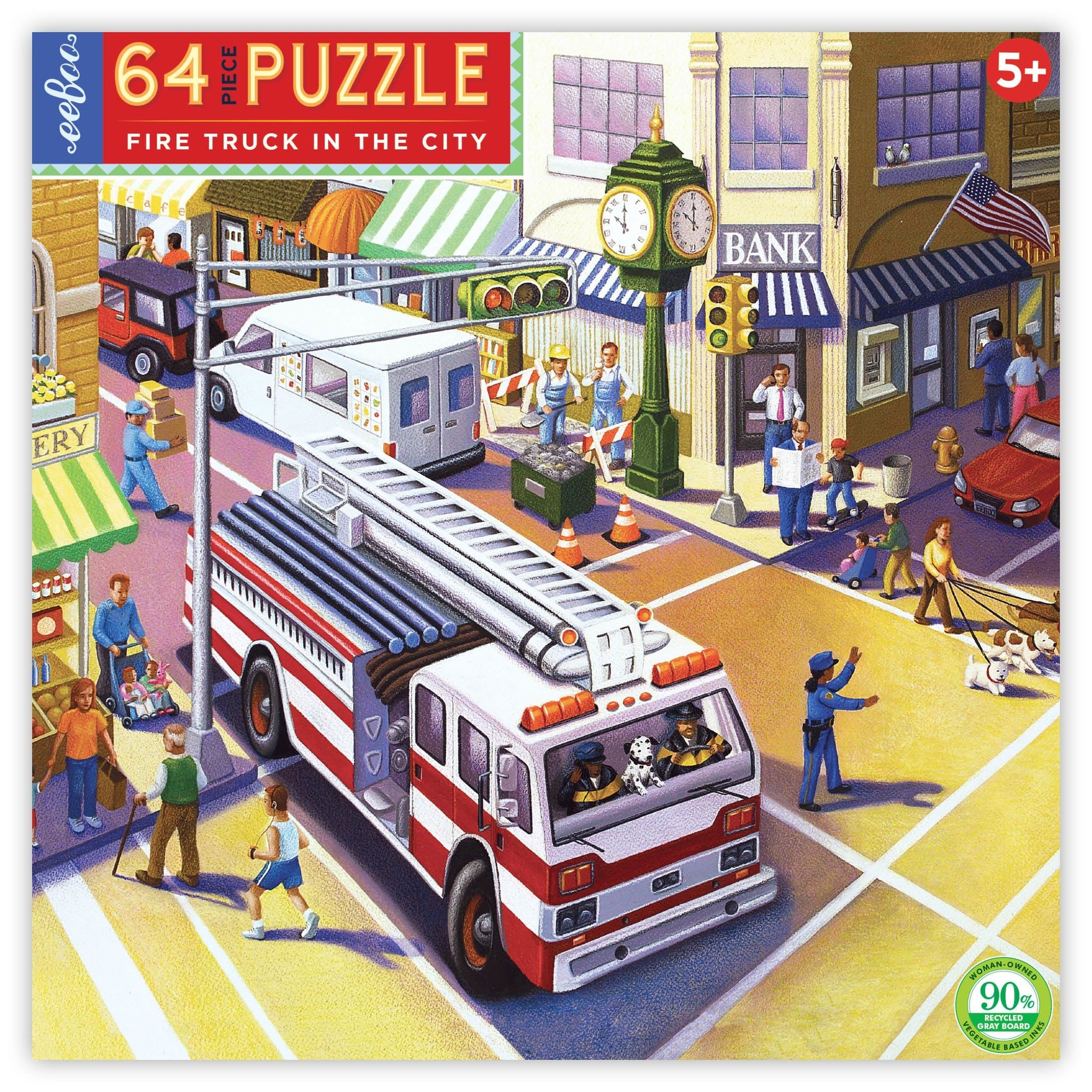 Fire Truck in the City Puzzle - 64pc