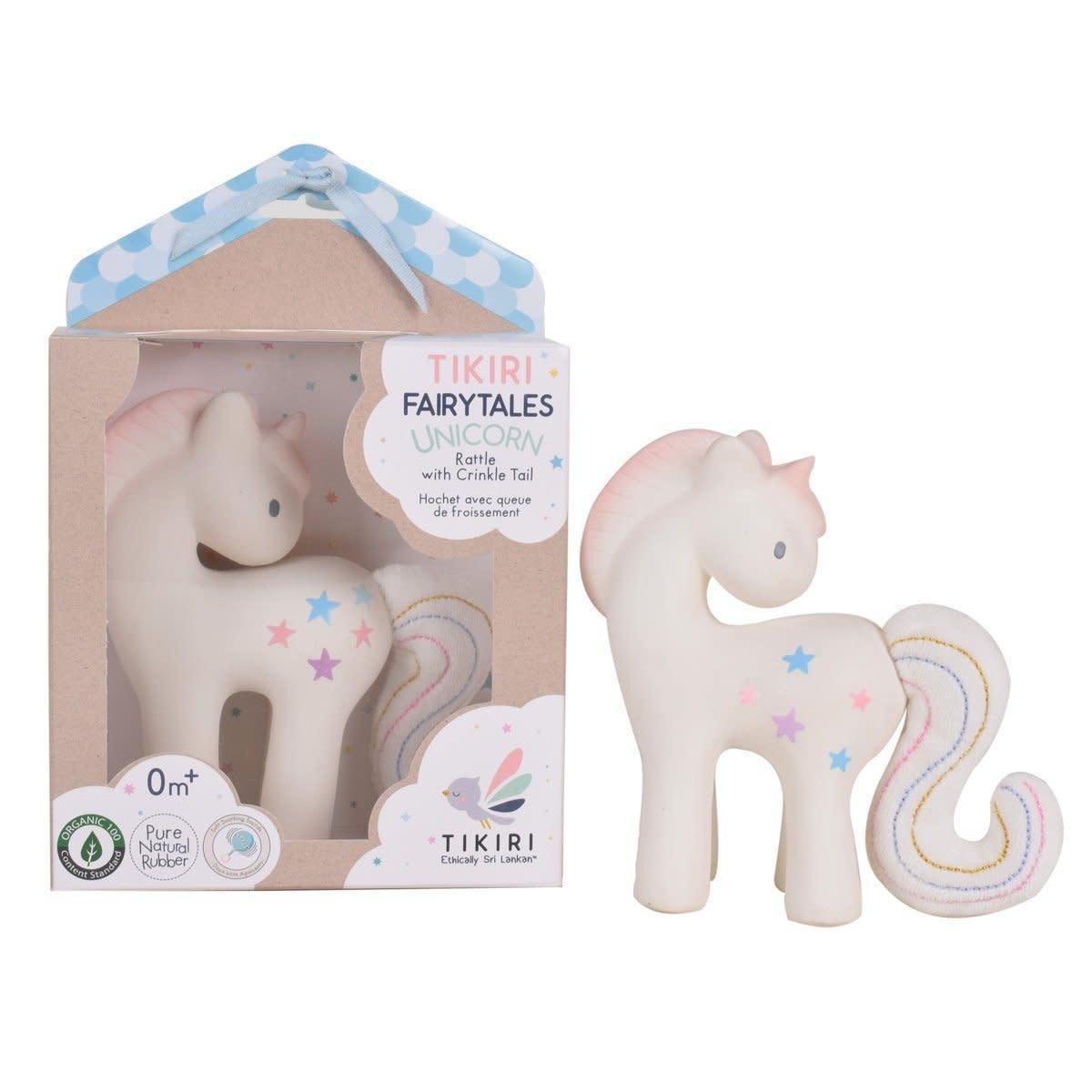 Tikiri Cotton Candy Unicorn - Rattle & Crinkle Toy