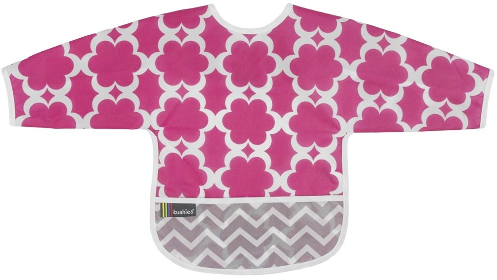 Kushies - Sleeved CleanBib - Flowers 6-12m