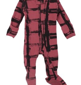 Loved Baby Loved Baby - Organic Zipper Footie - Appleberry Plaid