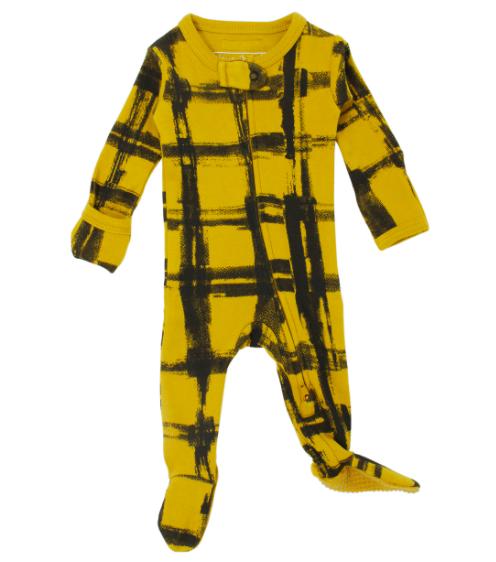 Loved Baby Loved Baby - Organic Zipper Footie - Citrine Plaid