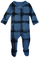 Loved Baby Loved Baby - Organic Zipper Footie - Abyss Plaid