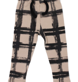 Loved Baby Loved Baby - Drawstring Leggings - Oatmeal Plaid