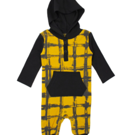 Loved Baby Loved Baby - Hooded Long-Sleeve Romper - Citrine Plaid