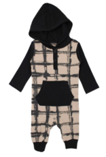 Loved Baby Loved Baby - Hooded Long-Sleeve Romper - Oatmeal Plaid