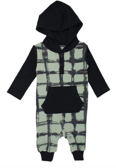 Loved Baby Loved Baby - Hooded Long-Sleeve Romper - Seafoam Plaid
