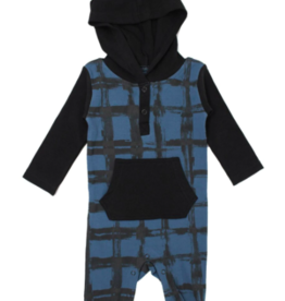 Loved Baby Loved Baby - Hooded Long-Sleeve Romper - Abyss Plaid