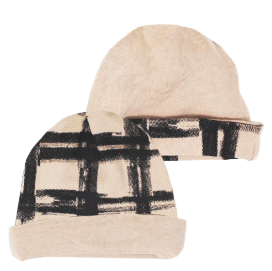 Loved Baby Loved Baby - Reversible Beanie - Oatmeal Plaid