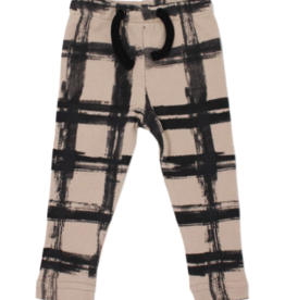 Loved Baby Loved Baby - Kids Drawstring Leggings - Oatmeal Plaid - 2T