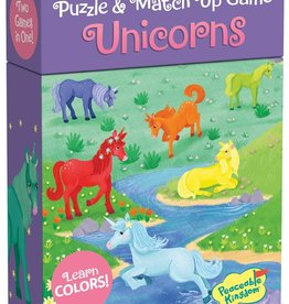 Peaceable Kingdom Unicorn Puzzle & Match Up Game