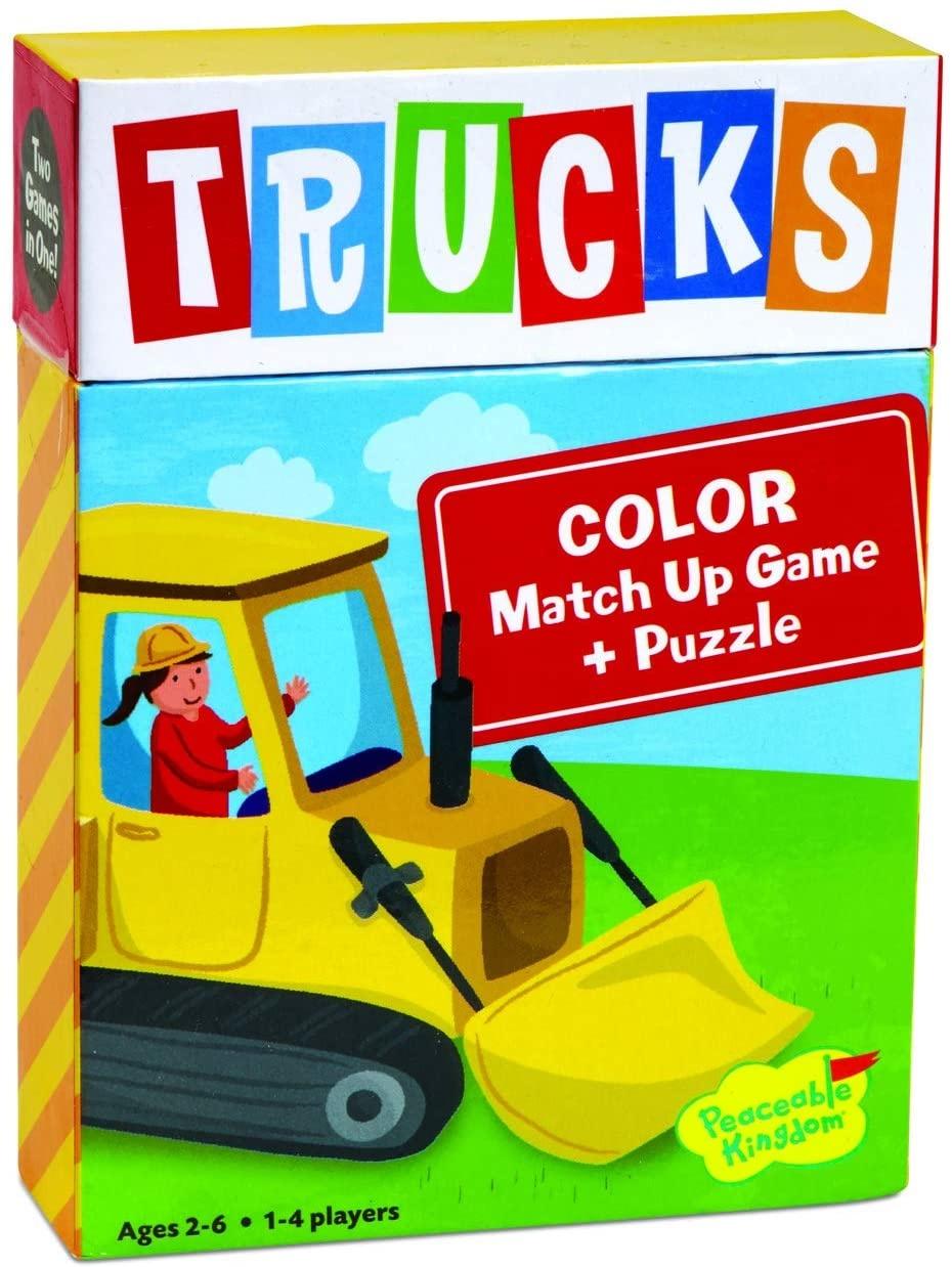Peaceable Kingdom Trucks Match Up Game & Puzzle