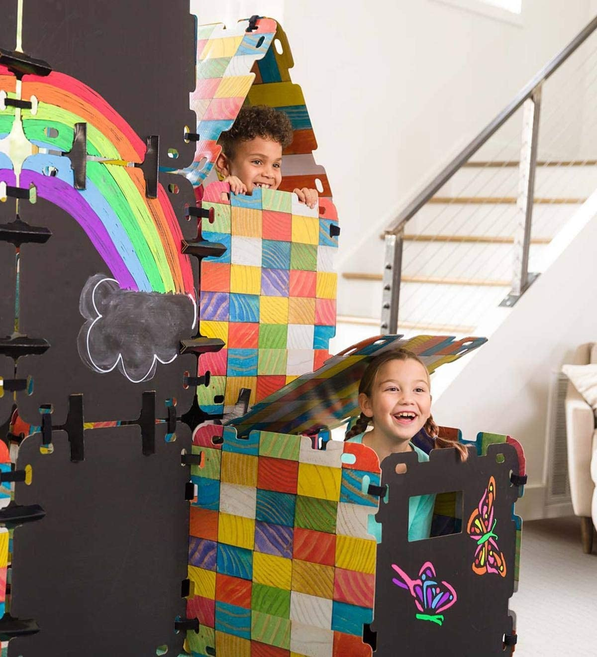 Hearthsong Colorblock Chalkboard Build-A-Fort Kit