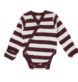 Loved Baby Loved Baby - Organic Kimono Bodysuit - Eggplant  Stripe