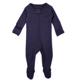 Loved Baby Loved Baby - Organic Zipper Footie - Navy