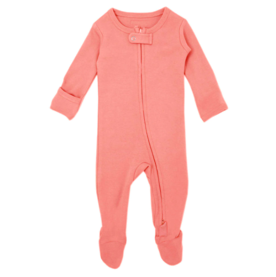 Loved Baby Loved Baby - Organic Zipper Footie - Coral