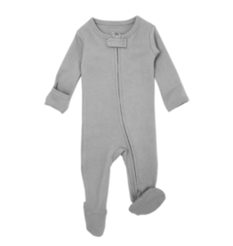 Loved Baby Loved Baby - Organic Zipper Footie - Light Gray