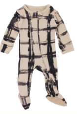 Loved Baby Loved Baby - Organic Zipper Footie - Oatmeal Plaid