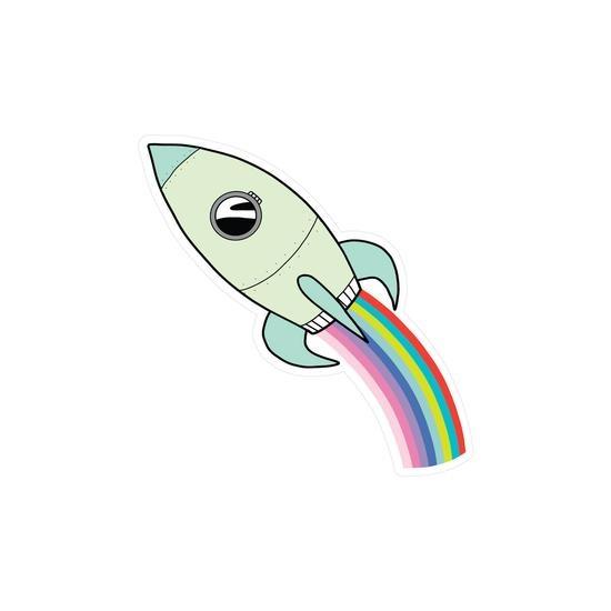 PipStickers Rainbow Rocket Vinyl Sticker