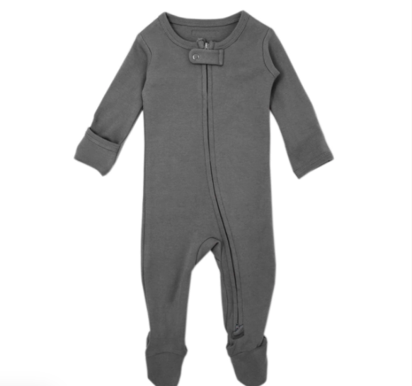 Loved Baby Loved Baby - Organic Zipper Footie - Gray