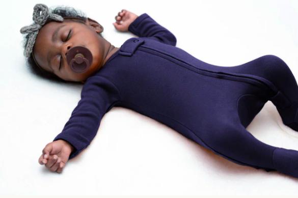 Loved Baby Loved Baby - Organic Zipper Footie - Navy