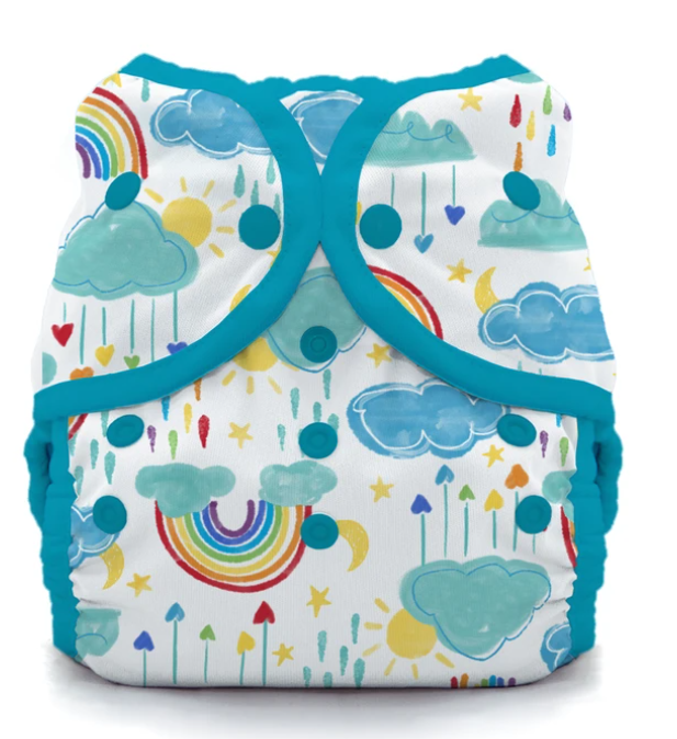 Thirsties Stay Dry Natural One Size AIO Snap Rainbow