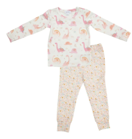 Angel Dear - Lounge Wear Set - Floral Dinos Pink