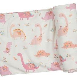 Angel Dear Floral Dinos Pink Swaddle Blanket