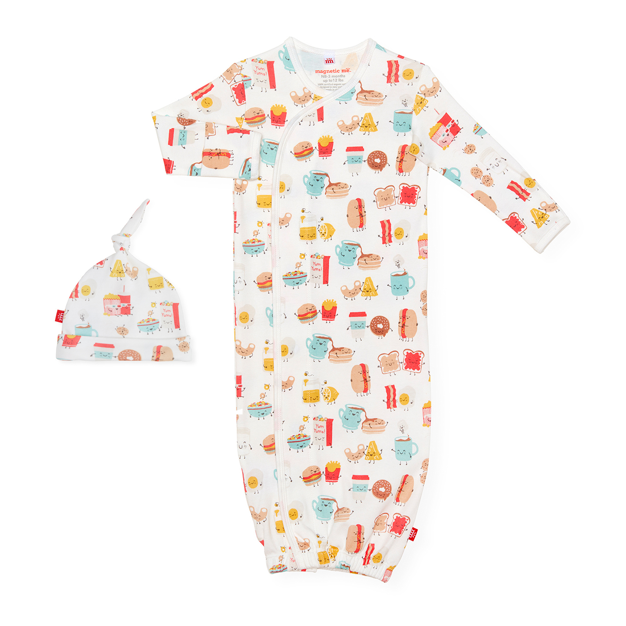 Magnetic Me Organic Cotton Magnetic Gown Hat Better Together Green Bambino