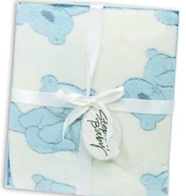 Boxed Plush Fleece Blanket  - Blue Bear