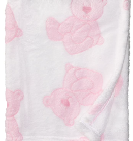 Boxed Plush Fleece Blanket  - Pink Bear