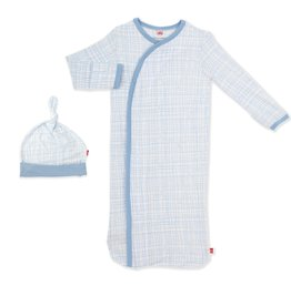 Magnetic Me Magnetic Me - Modal NB Gown & Hat - Greenwich Plaid