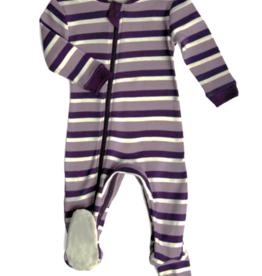 ZippyJamz ZippyJamz - Footed - Stripes & Likes Purple