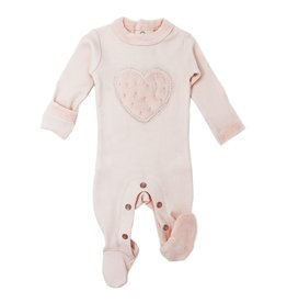 Loved Baby Loved Baby - Velveteen Graphic Footie - Blush