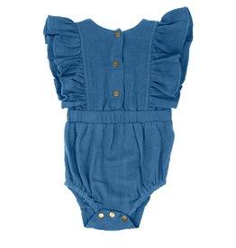 Loved Baby Loved Baby - Organic Muslin Ruffly Bodysuit - Pacific