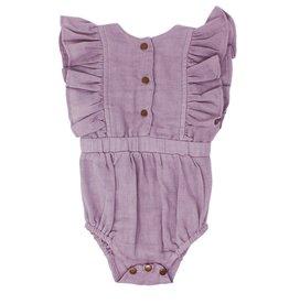 Loved Baby Loved Baby - Organic Muslin Ruffly Bodysuit - Amethyst