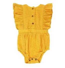 Loved Baby Loved Baby - Organic Muslin Ruffly Bodysuit - Saffron