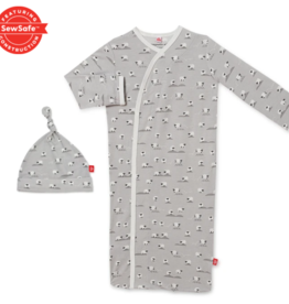 Magnetic Me Magnetic Me - Modal Magnetic NB Gown & Hat - Baa Baa Baby Gray