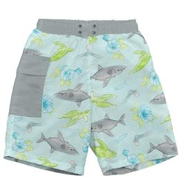 Green Sprouts Pocket Trunks w/Built-In Swim Diaper - Lt. Aqua Shark Sealife