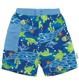 Green Sprouts Pocket Trunks w/Built-In Swim Diaper - Roy. Blue Turtle Journey
